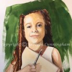 Ready, original watercolor portrait painting by Beverly Cunningham
