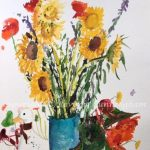 Cup in the Garden, original floral watercolor painting by Beverly Cunningham