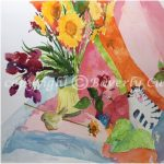 Contentment, original floral watercolor painting by Beverly Cunningham