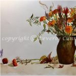 Autumn Flowers, original watercolor painting by Beverly Cunningham