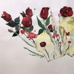 Rose Parade, original floral watercolor painting by Beverly Cunningham