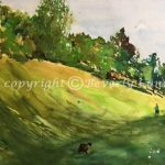 In The Park, original landscape watercolor painting by Beverly Cunningham