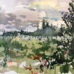 Clouds Breaking, Homer Alaska, plein air watercolor painting by Beverly Cunningham