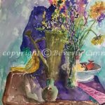 Still Life in Greens and Blues, original floral watercolor painting by Beverly Cunninham