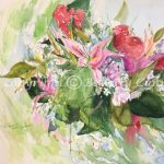 Spring's Fragrant Bouquet #2013, original floral watercolor painting by Beverly Cunningham